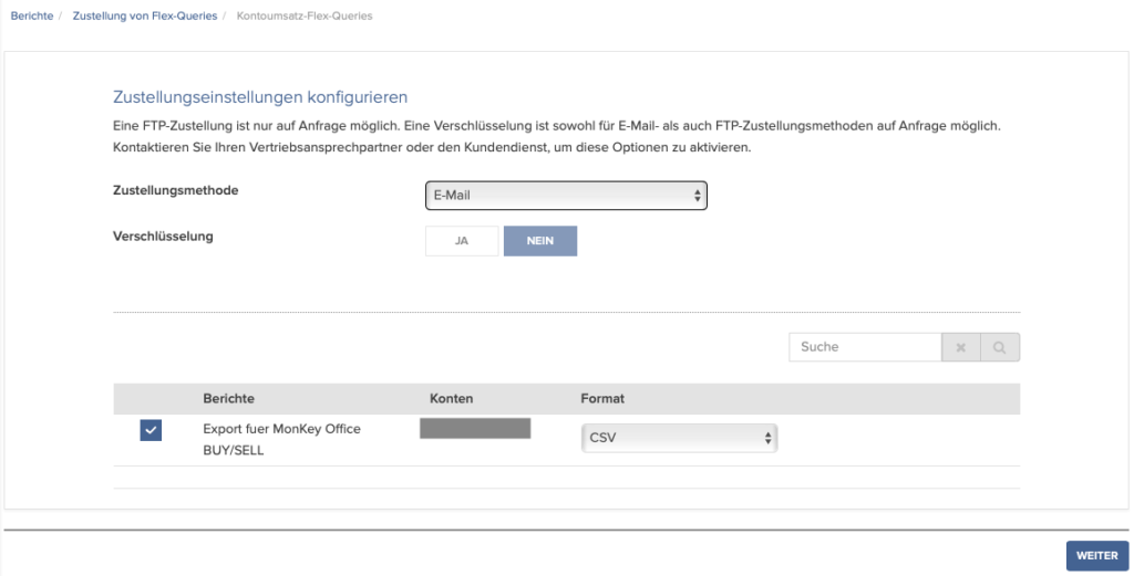 Automatische Zustellung der FlexQuery konfigurieren