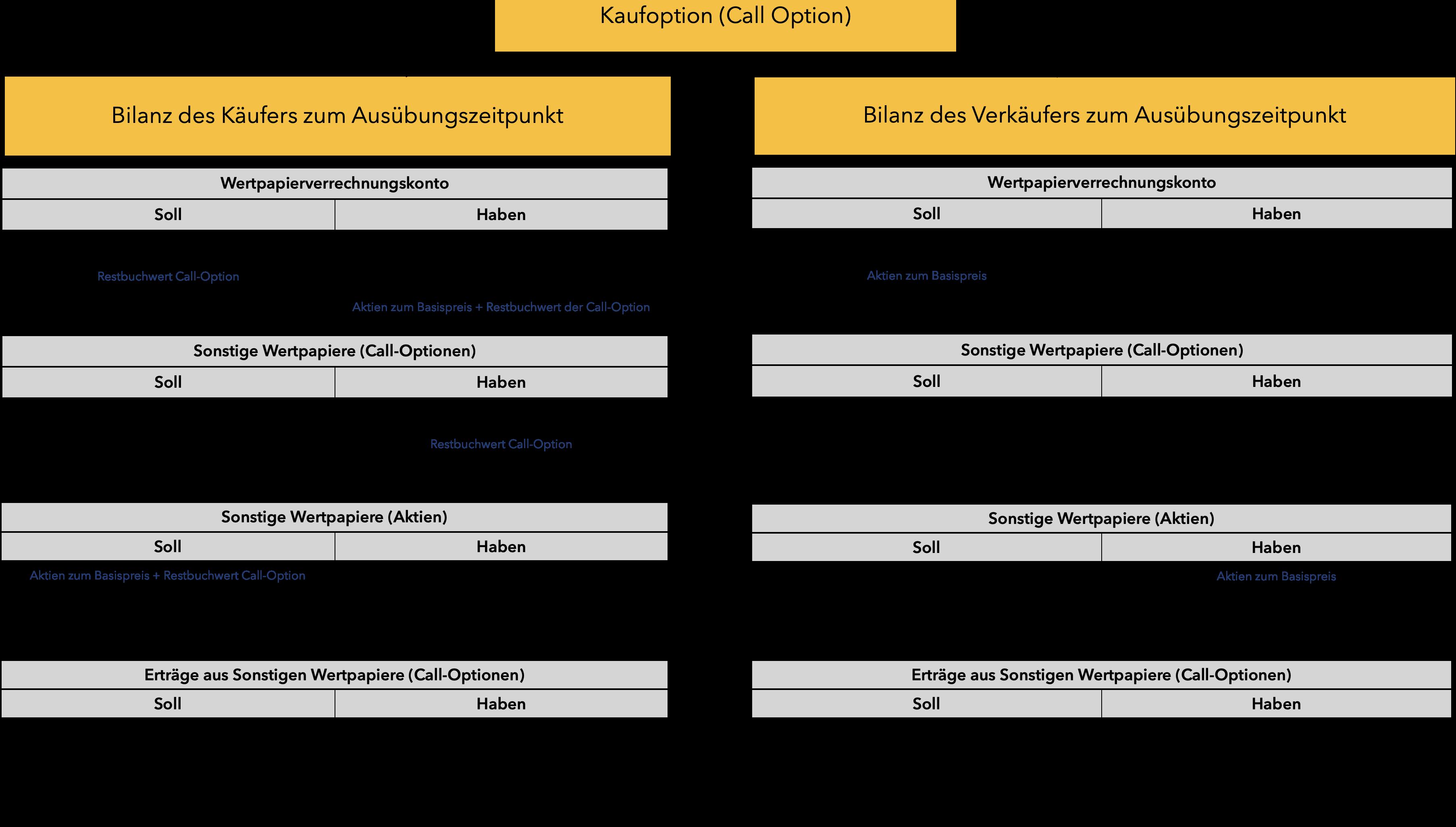 Optionen verbuchen: Behandlung von Call-Optionen zum Ausübungszeitpunkt